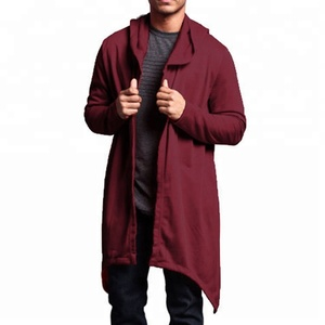 Fashion Hooded Open with Irregular hem Without buttons custom trendy coat