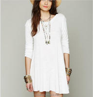 2016 Women Long Sleeve Linen Casual Loose Mini White Dress