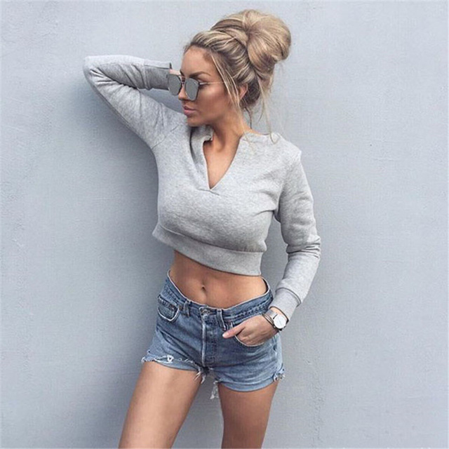F20542A European style hot sale autumn tops for women v neck crop top pullover with velvet fashion hoodie
