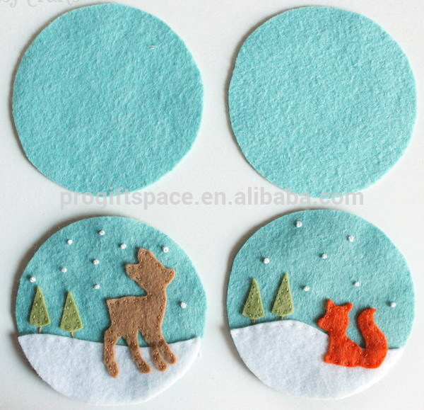 New fashion hotsale China handmade round craft ornament cheap wholesale DIY squirrel/deer felt decor mat Christmas baubles