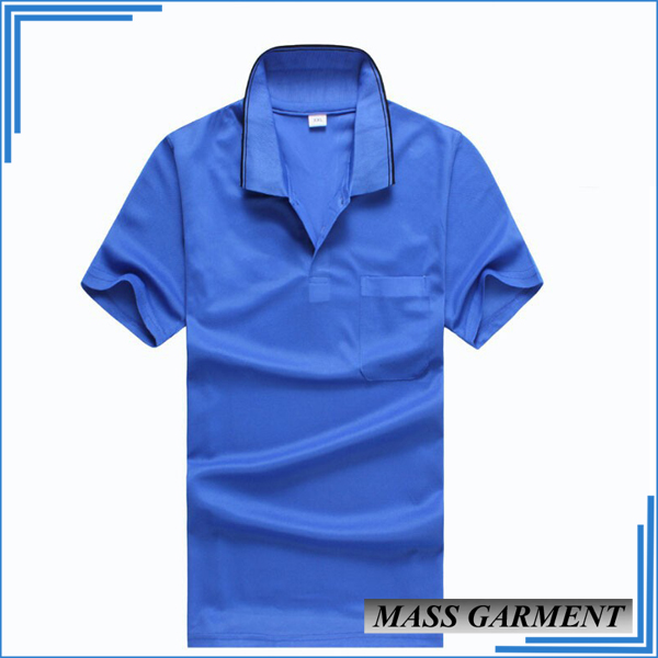 Mens T-Shirt Different Color Collar Polo Shirt Cotton Spandex Single Jersey Fabric Royal Blue