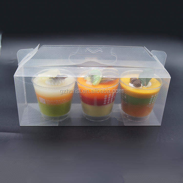 Hot sale promotional cheap transparent cake packaging box disposable plastic food container with plastic cup