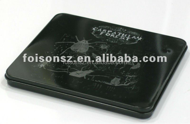 Black metal DVD tin case