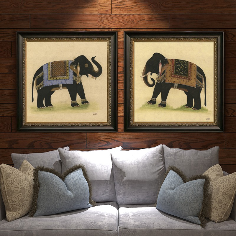 Modern Wall Art Abstracttree elephant with Acrylic glass frame for living room art hotel decro