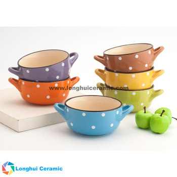 Colorful glaze ceramic soup bowl with two handle