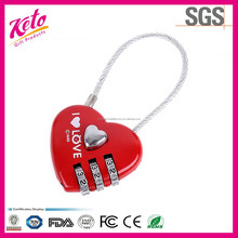 Love Heart Shaped Cable Combination Lock For Luggage Lock