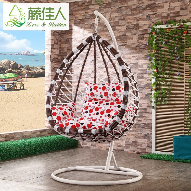 Cheap water drop style outdoor hand-weaved hanging garden swing chair
