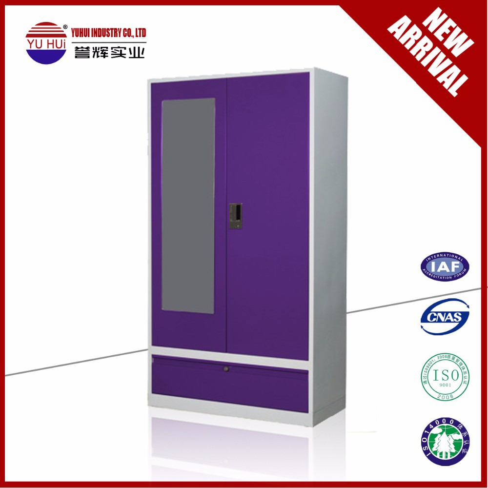 Modern Bedroom Furniture KD Structure purple Almirah / Steel Wardrobe with mirror