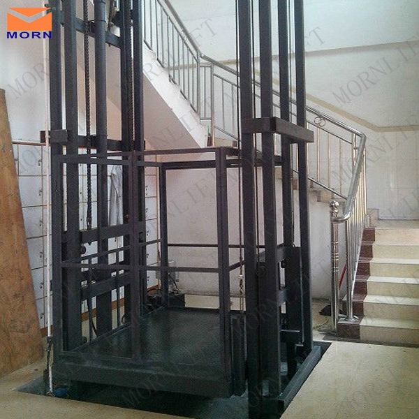 Hydraulic warehouse guide rail lift vertical goods lift