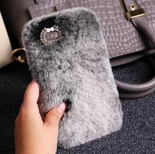 Fashion Fluffy Warm Soft Wool Rabbit Fur Skin Case For iPhone 5 5S 6 6S 6 Plus 6S Plus Hair fur Plush Bling Diamond Bow Cases