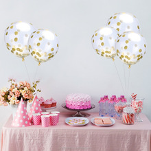 12 inch shiny gold Confetti Balloons Clear Balloons with colorful Paper Confetti for Party Decorations foil confetti balloon