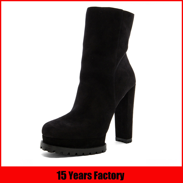 Low price fur lining boots with high platform women high heel boots shoes