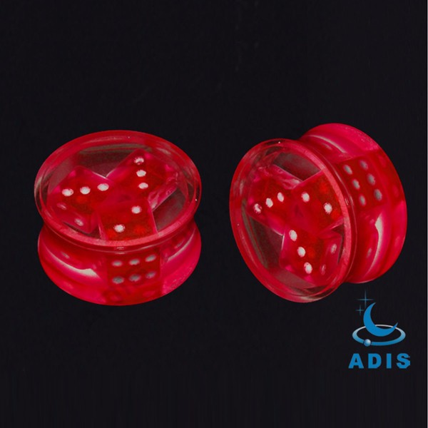 2017 new style ear tunnel piercing jewelry acrylic ear plugs with dice