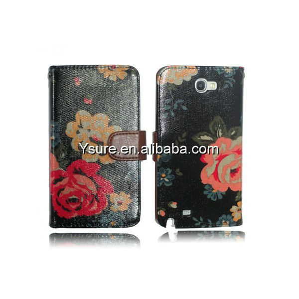 Beautiful Flower wallet leather Case For Samsung Galaxy Note II