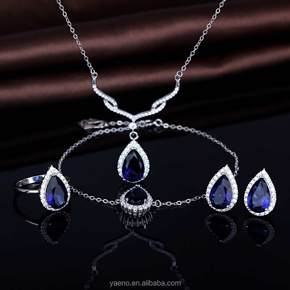 New Arrival 925 Sterling Silver Blue Sapphire Waterdrop Wedding Jewelry Set