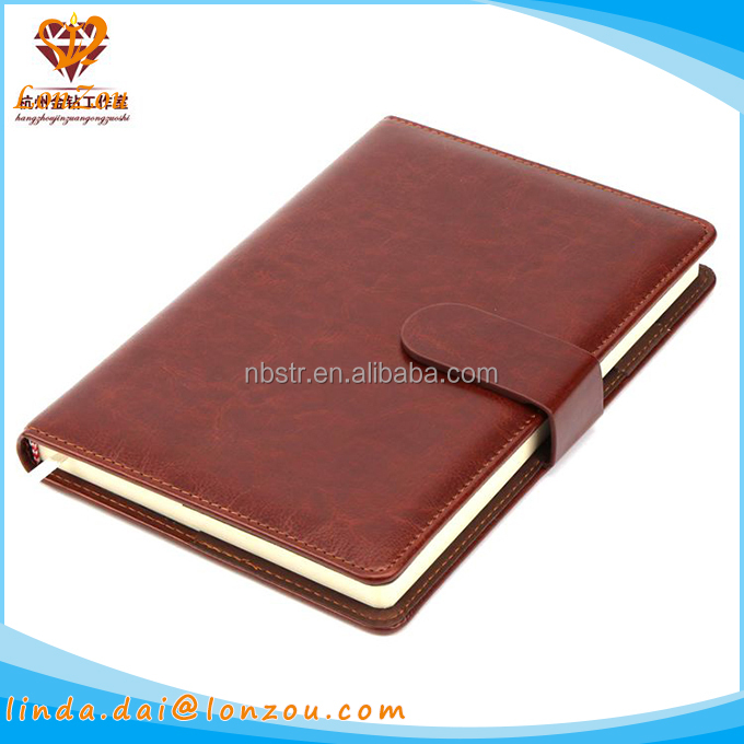 Leather notebook journal custom logo office diary pu leather notebook cover