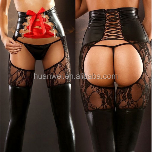 Lace hollow crotchless hot sexy girl leather pants leggings + T-back