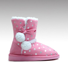 HC-520 Low price EVA sole printed pink winter warm kids girls boots with pom poms