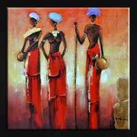 Original design handmade abstract african women oil painting