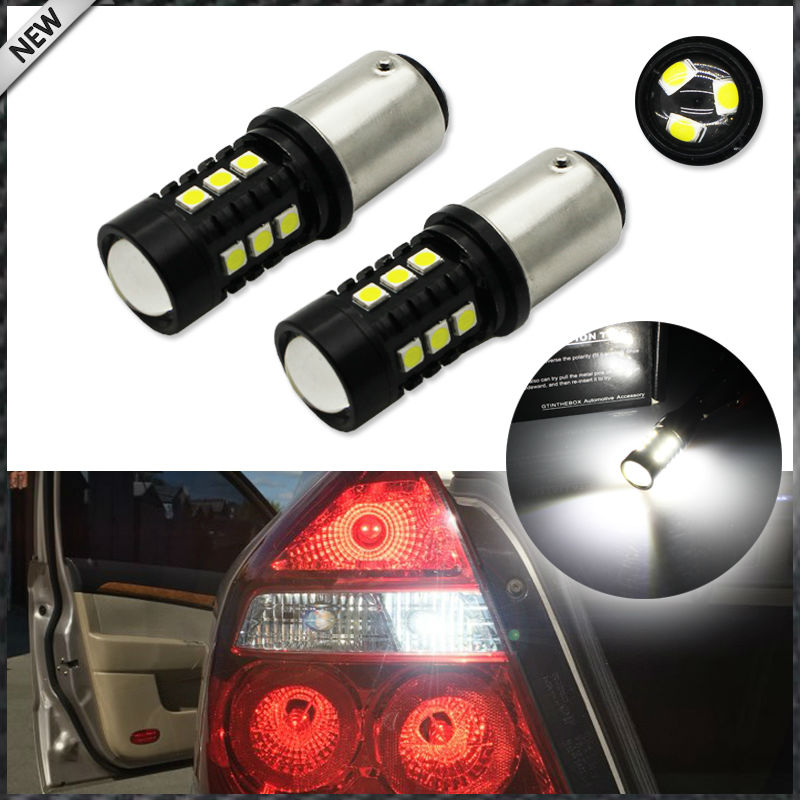 Xenon White 15-SMD-3030 LED 1157 BAY15D P21/4W LED Bulbs For Turn Signal Lights, Daytime Running Lights, Reverse Lights