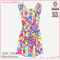 Nice floral printed new designs high fashion sunny dress with belt