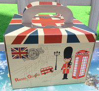 England Royal Guard cake box /small Mousse box with union jack / Children birthday cake box