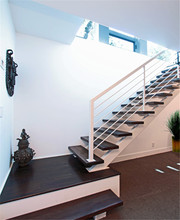 Hot Sale Wooden Straight Stair Stainless Steel Railing System