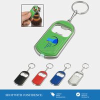 various colored bottle opener key chain with white led light