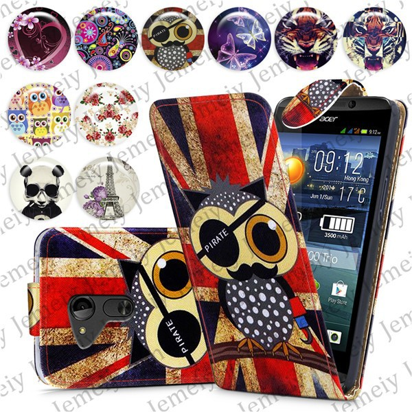 Fashion Patterns Printed Magnetic PU Leather Card Holder Wallet Top Open Flip Phone Case Cover Skin For Acer Liquid E700