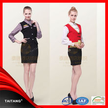 wholesale high quality custom fashion women hotel staff uniform