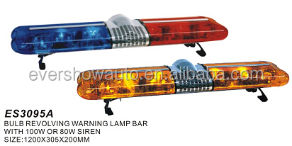 EVERSHOW emergency rotating police light bar fire emergency light with 100W siren