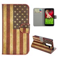 Stylish Pattern Wallet Style Protective PC and PU Leather Flip Case For LG G2 Mini D620