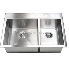 33 Inch Zero Radius Design 16 Gauge Topmount Drop In Over the Counter Double Bowl 1.5mm Thickness Stainless Steel Bowl Sink