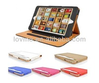 For Apple iPad Mini Tan leather Wallet Smart Flip Case Cover