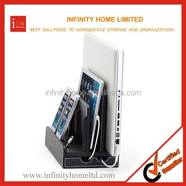 Multi-purpose Leather Phone Charging Station With LCD