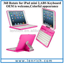 LBK145 For iPad Mini 2 spanish keyboard for ipad mini 2 360 rotate keyboard case stand