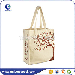 custom recyclable canvas tote bag with screen printing for packing