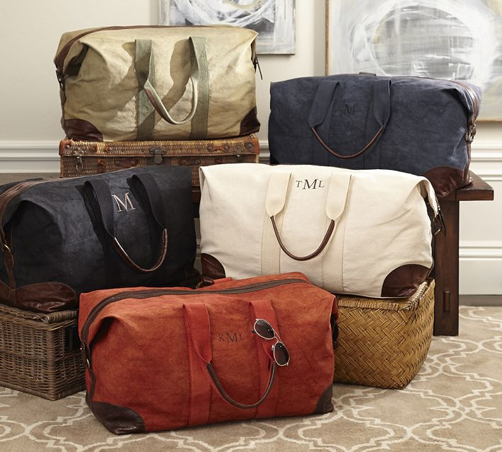 custom cotton canvas travel Duffle weekender bag