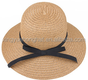 new style 100% paper straw hat with black bowknot