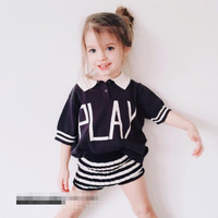 B20938A New stylish baby summer T-shirt children Knitted POLO sweater blouse
