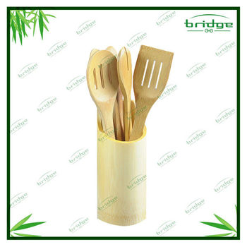 Bamboo kitchen tableware with holder