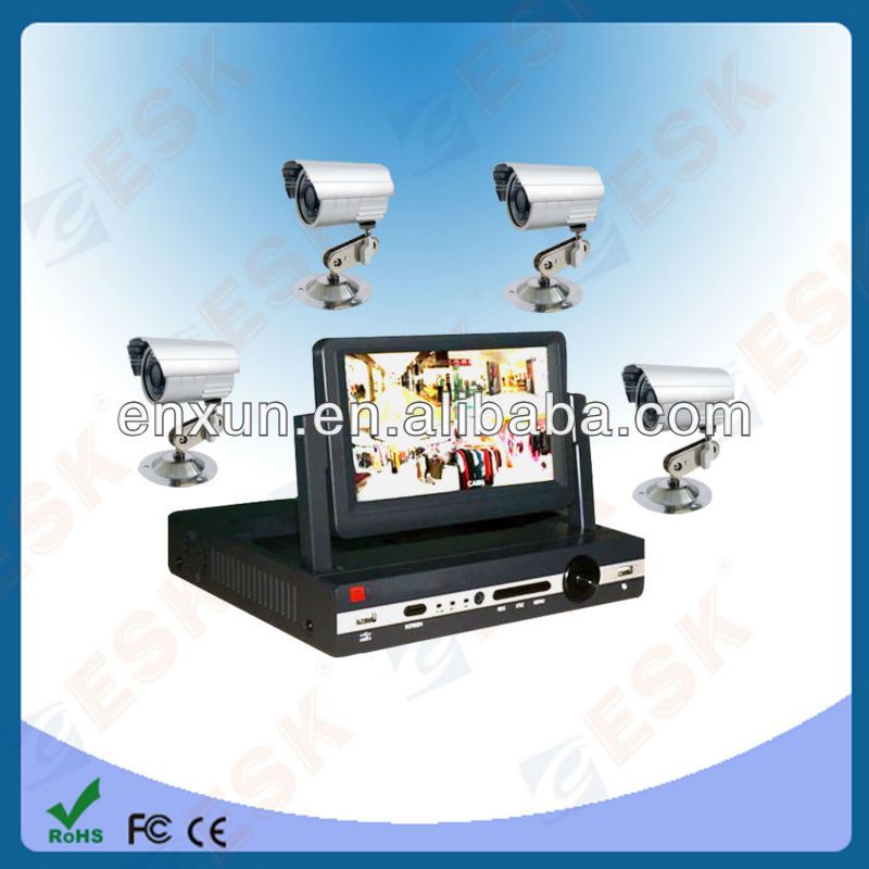 7 inch LCD,4 CH H.264 Surveillance Security CCTV DVR System