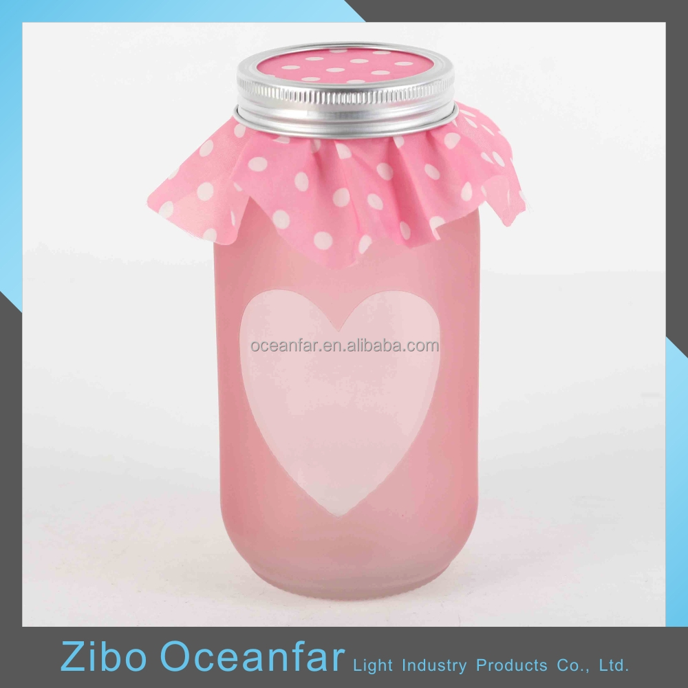 High Quality Pink Frosted Candles Glass Jars Decorative Candle Making Jars