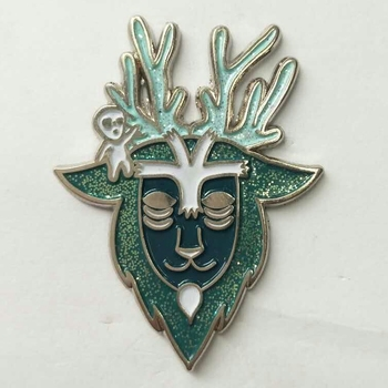 Custom Beautiful Goat Shape Enamel Pin Badges With Glitter