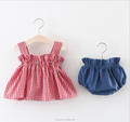 New summer suit for 2018 blasting models grid condole belt baby girl of tidal current two-piece set
