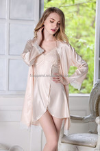 High quality two pieces deep-v mature nighty women silk robes set DJ3113-4