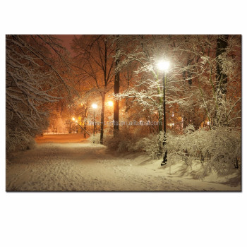Warm Winter Park Picture Photo Canvas Wall Art USA Landscape Canvas Print for Modern Living Room Decoration