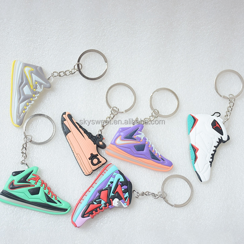 creative keychain, silicone shoes key ring, 3D Jordan shoes keychain(SWTFF113)