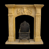 Cheap Hand Carved Lion Head Fireplace With Marble Fireplace Mantel
