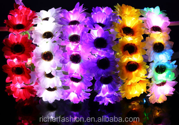 beautiful colorful flower led light up headband crown